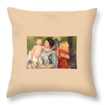 After The Bath Throw Pillow by Cassatt