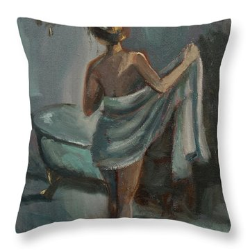 Throw Pillow featuring the painting After The Bath by Jennifer Beaudet