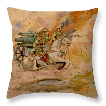 Throw Pillow featuring the painting After The Charge by Ray Agius