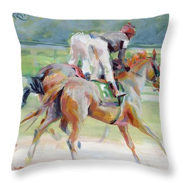 After The Finish Throw Pillow by Kimberly Santini