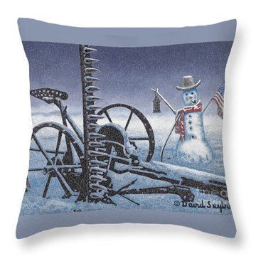 After The Harvest Snowman Throw Pillow by John Stephens