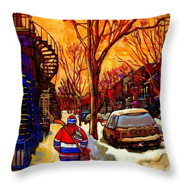 After The Hockey Game A Winter Walk At Sundown Montreal City Scene Painting  By Carole Spandau Throw Pillow by Carole Spandau