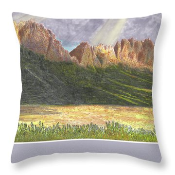 Throw Pillow featuring the painting After The Monsoon Organ Mountains by Jack Pumphrey