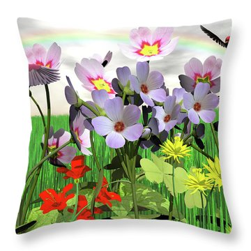 After The Rain Comes The Rainbow Throw Pillow by Michele Wilson