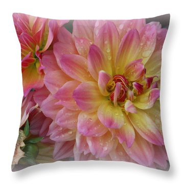 After The Rain - Dahlias Throw Pillow