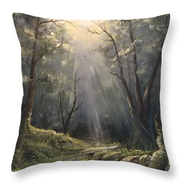 After The Rain  Throw Pillow by Paintings by Justin Wozniak