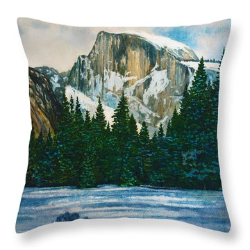 After The Snowfall, Yosemite Throw Pillow