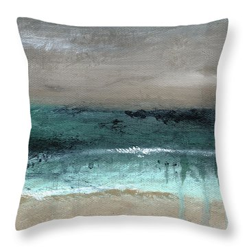 After The Storm 2- Abstract Beach Landscape By Linda Woods Throw Pillow