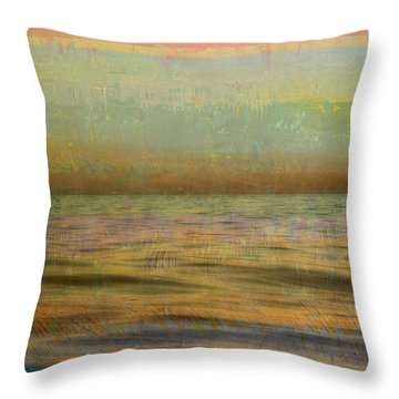 Throw Pillow featuring the photograph After The Sunset - Teal Sky by Michelle Calkins