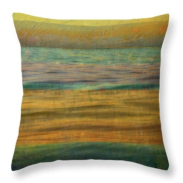 Throw Pillow featuring the photograph After The Sunset - Yellow Sky by Michelle Calkins