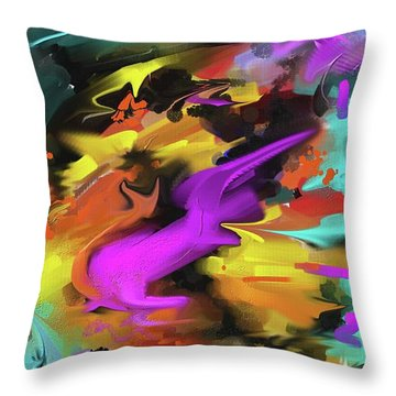 Throw Pillow featuring the painting After Work by S G