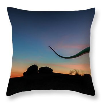 Afterglow Dinosaur Throw Pillow by Gary Warnimont