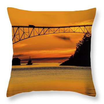 Afterglow With Tugboat And Truck Throw Pillow