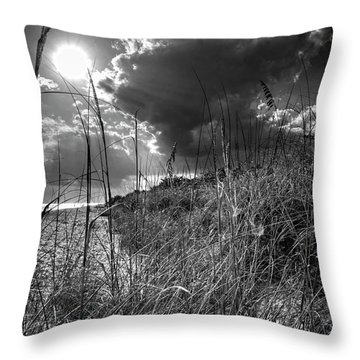 Throw Pillow featuring the photograph Afternoon At A Sanibel Dune In Blank And White by Chrystal Mimbs