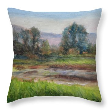 Afternoon At Sauvie Island Wildlife Viewpoint Throw Pillow