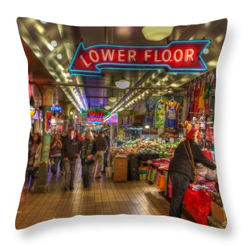 Afternoon At The Pike Street Market Seattle Washington Throw Pillow