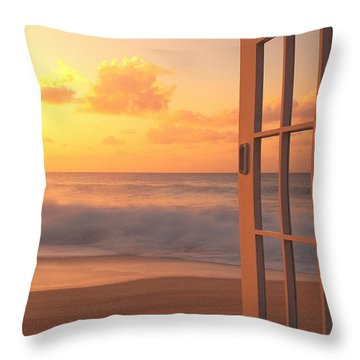 Afternoon Beach Scene Throw Pillow by Dana Edmunds - Printscapes