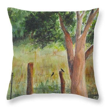 Throw Pillow featuring the painting Afternoon Chat by Vicki  Housel
