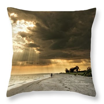 Throw Pillow featuring the photograph Afternoon Fishing On Sanibel Island by Chrystal Mimbs