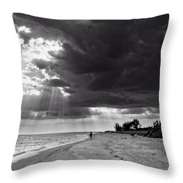 Throw Pillow featuring the photograph Afternoon Fishing On Sanibel Island In Black And White by Chrystal Mimbs