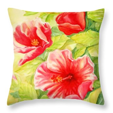 Throw Pillow featuring the painting Afternoon Hibiscus by Inese Poga