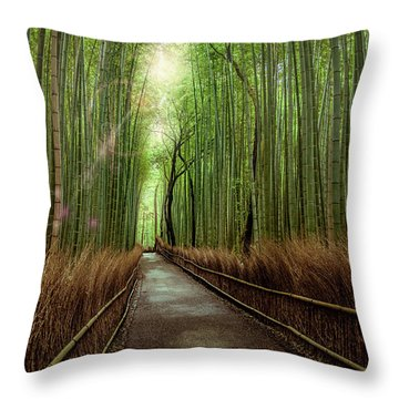 Throw Pillow featuring the photograph Afternoon In The Bamboo by Rikk Flohr