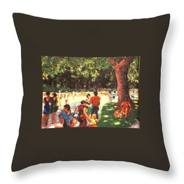 Throw Pillow featuring the painting Afternoon In The Park by Walter Casaravilla