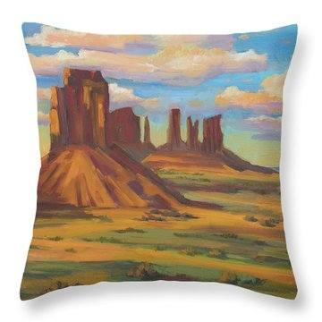 Throw Pillow featuring the painting Afternoon Light Monument Valley by Diane McClary