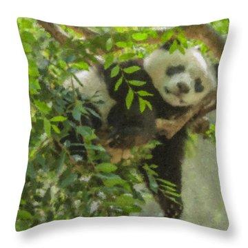 Afternoon Nap Baby Panda Throw Pillow