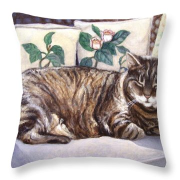 Throw Pillow featuring the painting Afternoon Nap by Laura Aceto