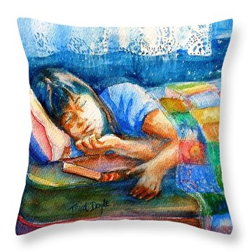 Afternoon Nap Throw Pillow by Trudi Doyle