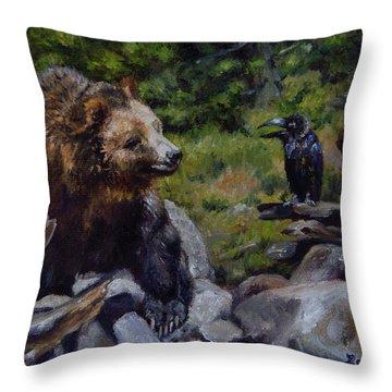 Afternoon Neigh-bear Throw Pillow