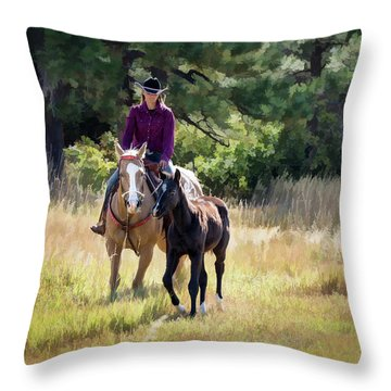 Afternoon Ride In The Sun - Cowgirl Riding Palomino Horse With Foal Throw Pillow by Nadja Rider