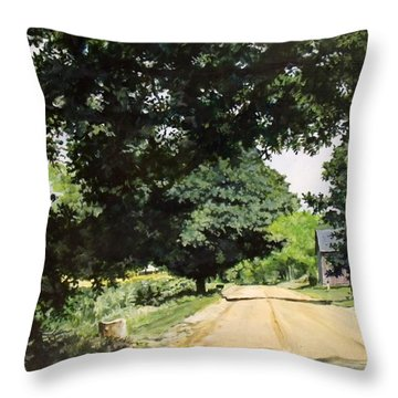 Afternoon Road Throw Pillow