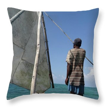 Afternoon Sailing In Africa Throw Pillow