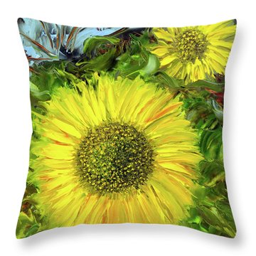 Afternoon Sunflowers Throw Pillow