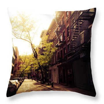 Afternoon Sunlight On A New York City Street Throw Pillow by Vivienne Gucwa