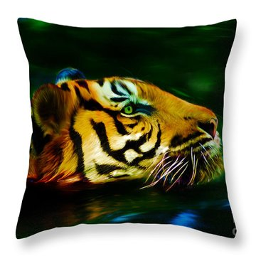 Afternoon Swim - Tiger Throw Pillow