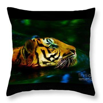 Afternoon Swim - Tiger Throw Pillow