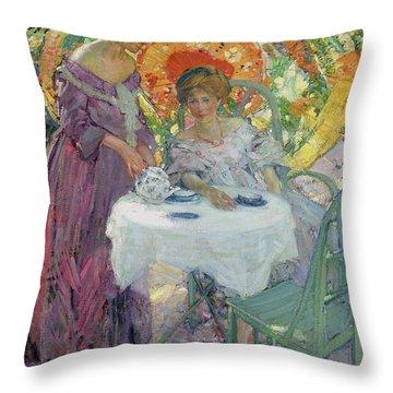 Afternoon Tea Throw Pillow by Richard Edward Miller