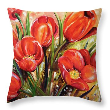 Afternoon Tulips Throw Pillow