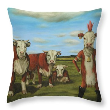 Throw Pillow featuring the painting Against The Herd by Leah Saulnier The Painting Maniac