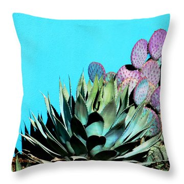 Agave And Prickly Pear Cactus Throw Pillow by Marcia Socolik