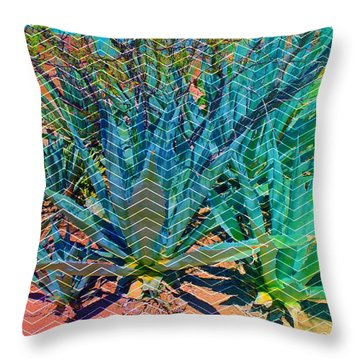 Throw Pillow featuring the mixed media Agave by Michelle Dallocchio