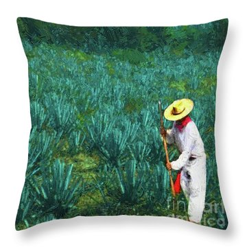 Agave Worker Throw Pillow