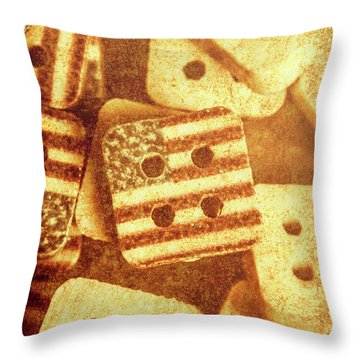 Age Old Fashion Buttons Throw Pillow
