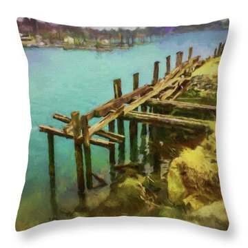Aged Docks From Winthrop Throw Pillow