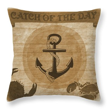 Aged Seafood Poster Throw Pillow