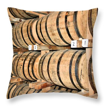 Aging The Whisky Throw Pillow by Kristin Elmquist