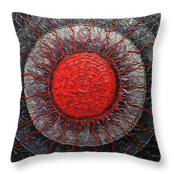 Red And Black Abstract Throw Pillow by Patricia Lintner